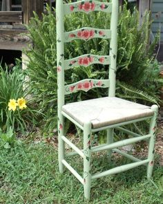 Ladder Back Chair, Painted Soft Green With Flowers And Vines On Both Sides  Of The
