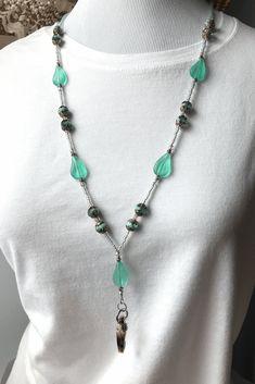 Green Beaded ID Badge Lanyard - Seafoam Green Glass Beads - ID Necklace - BL118 - Plum Beadacious