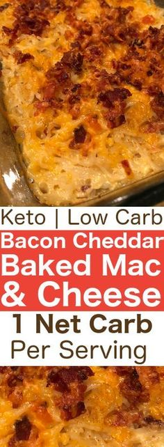 Keto mac and cheese, baked with four cheeses & bacon crumbles. In this recipe, w… Keto mac and cheese, baked with four cheeses & bacon crumbles. In this recipe, we're tackling the baked goodness that is baked keto Bacon Mac & Cheese! Keto Foods, Ketogenic Recipes, Low Carb Recipes, Diet Recipes, Cooking Recipes, Pescatarian Recipes, Keto Recipes With Bacon, Cooking Ham, Ramen Recipes