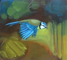 """Blue Tit"" oil on wood panel painting by Lindsey Hambleton"