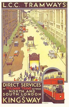 LCC Tramways - Kingsway Subway poster by A. Murray - 1931 by mikeyashworth, via Flickr