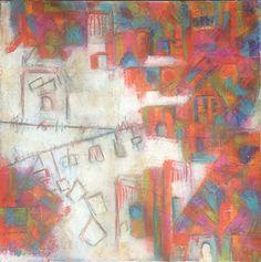 Artist : Lydia Hierro / Title : Mi Ciudad / Dimensions : 70 x 70 cms / Price : MXN $7,000 / Status : Available / Technique : Encaustic on Canvas / Year : 2015
