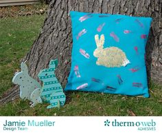Deco Foil a Denim Easter Pillow #DecoFoil