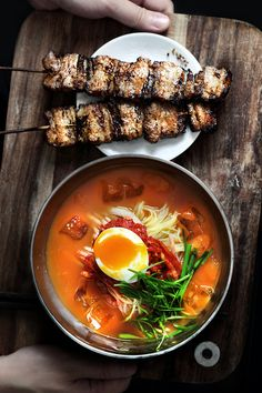 Kimchi Broth Noodles + Grilled Pork Belly - Lady and Pups Korean Dishes, Korean Food, Asia Food, Soup Recipes, Cooking Recipes, Cooking Tips, Food Porn, Asian Recipes, Ethnic Recipes