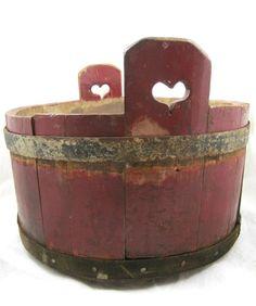 Antique Butter Tub w Heart Handles Red Paint Folk Art Primitive | eBay   sold   369.00    ~♥~