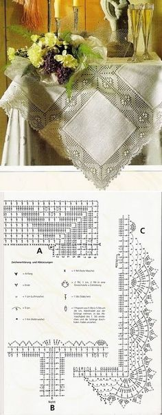 Tablecloth or table runner: linen fabric squares and filet crochet lace borders ~~ Sucateando by Rogeria Costa