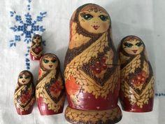 Dentists Handmade Wooden Nesting Matryoshka Russian Dolls Doctors Style 7pc
