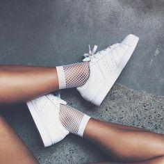 Adidas Women Shoes - Sneakers women - Adidas Superstar and fishnet socks (©livrah) - We reveal the news in sneakers for spring summer 2017 Fishnet Ankle Socks, Ankle High Socks, Women's Socks & Hosiery, High Heels, Fishnet Stockings, Adidas Superstar, Addidas Sneakers, White Sneakers, Mesh Socks