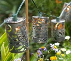 50 Extremely Ingenious Crafts and DIY Projects That Are Recycling, Repurposing & Upcycling Tin Cans Tin Can Crafts, Diy And Crafts, Soup Can Crafts, Tin Can Lights, String Lights, Tea Lights, Light String, Twinkle Lights, Globe Lights
