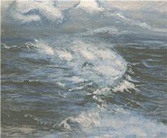 Den Oever, 80 x 100 cm, Acryl, Malerei von Willi Gottschalk Poseidon, Waves, Clouds, Den, Outdoor, Sea Spray, Painting Art, Pictures, Outdoors