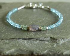 Apatite Scorolite bracelet, green kyanite, sterling beads, rare purple gemstone, blue green jewelry, lavender lilac boho gemstone jewelry   https://www.etsy.com/shop/bluegreenjewels