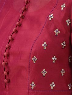 Best 12 Maroon Round Neck Kalidar Chanderi Kurta with Buti and Slip (Set of Hand Embroidery Dress, Kurti Embroidery Design, Embroidery Fashion, Neck Designs For Suits, Sleeves Designs For Dresses, Blouse Neck Designs, Kurta Neck Design, Sari Blouse Designs, Stylish Dress Designs
