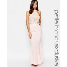 Jarlo Petite Caden Lace Detail Halter Neck Maxi Dress ($92) ❤ liked on Polyvore featuring dresses, petite, pink, pink dress, lace halter dress, halter maxi dress, lace halter top and petite maxi dresses