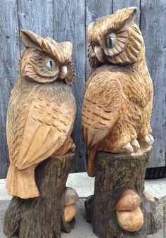 Купить Парковая деревянная скульптура - скульптура, дерево, дача, Парковая скульптура, детская площадка, медведь Chainsaw Wood Carving, Wood Carving Art, Tree Carving, Horned Owl, Owl Art, Wood Sculpture, Fall Crafts, Wood Projects, Woodworking