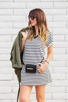 Asos Striped Dress For The Win via A House in the Hills  B-lowthebelt fanny pack!