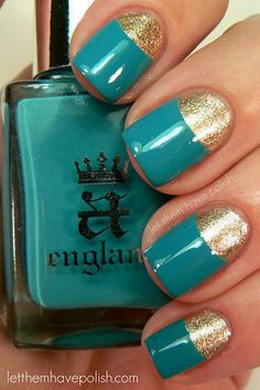 Greenish-blue and gold nails