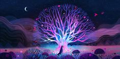 natur illustration Vibrant Nature Illustrations by Juliette Oberndorfer Mystical Forest, Fantasy Forest, Fantasy Art, Sell My Art, Psy Art, Animation Background, Environment Design, Environment Concept, First Art