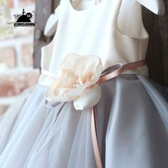 Super cute styles with couture high quality. Grey Flower Girl Dress, Designer Flower Girl Dresses, Flower Girl Dresses Country, Tulle Flower Girl, Tulle Flowers, Wedding Flower Girl Dresses, Flower Dresses, Bridal Dresses, Flower Girls