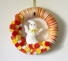 Candy Corn Ghost Wreath Autumn Wreath by TheBakersDaughter on Etsy, $49.00