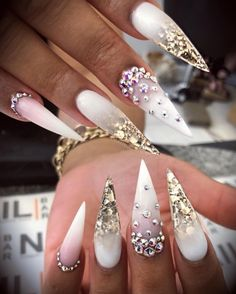 Gorgeous Trend Stiletto Nails in 2019 gorgeous Nails Stiletto Trend is part of Sheer White nails Beautiful - Sheer White nails Beautiful Ongles Bling Bling, Bling Nails, Nail Art Designs, Acrylic Nail Designs, Nails Design, Stiletto Nail Art, Cute Acrylic Nails, Coffin Nails, Wedding Stiletto Nails
