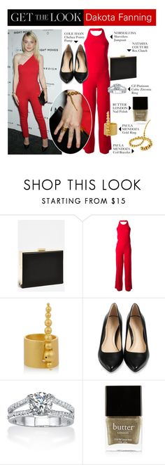 """Get the Look: Dakota Fanning's Night Moves Red Carpet Outfit"" by polyvore-editorial ❤ liked on Polyvore featuring Natasha, Normaluisa, Paula Mendoza, Cole Haan, Palm Beach Jewelry, Butter London, GetTheLook, DakotaFanning and nightmoves"