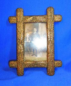 Vintage German Folk Art Wood Carved Picture Frame #M3