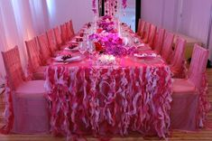 A combination of pink wedding table