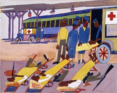 Station Stop, Red Cross Ambulance by William H. Johnson / American Art