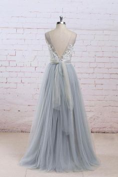 Gray A-line lace tulle long prom dress, gray tulle bridesmaid dress, Customized service and Rush order are available