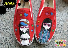 Strapless hand-painted shoes graffiti shoes canvas shoes female - - a096 customize $1272,33