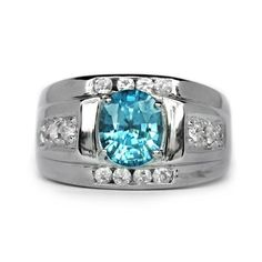 2.91 Carat Natural Blue Zircon Ring With White Zircon in 925 Sterling Silver #Multajewelry #SolitairewithAccents