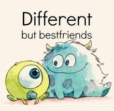 Quem está atento nas aulas de inglês sabe que isto quer dizer:Diferentes mas melhores amigos :que tal sou fixe por saber o que quer dizer...