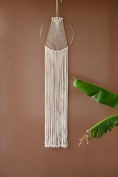 Large Macrame Hoop Wall Hanging / Natural Off white Gold Metal / Ombre / Dip Dye / Modern Macrame / Home Deco / Boho / Wall Art / Makrame