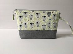 Gray Sheep Print and Gray Essex Linen Quilted Bag Crochet