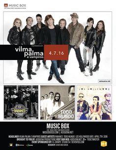 Vilma Palma Los Rabanes Los Hollywood y Todo Mundo en The Music Box San Diego.  Precios y detalles en http://tjev.mx/1QZmtqP #HayQueIr! #Conciertos #SanDiego más info en http://tjev.mx/9jUxqh