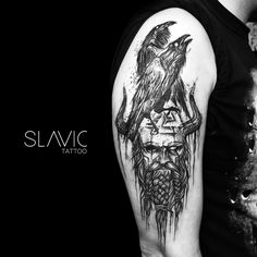 "Polubienia: 453, komentarze: 2 – SLAVIC tattoo (@slavic_tattoo) na Instagramie: ""Odin and his Ravens - Huginn and Muninn! @aocubo.mangabeiras @aocubo.chopperhead #raventattoo…"""