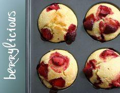 Strawberry cornmeal muffins