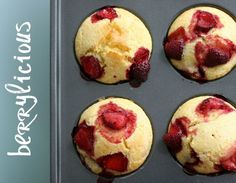 Strawberry cornmeal muffins
