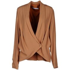 See By Chloé Blazer (1,770 MXN) ❤ liked on Polyvore featuring outerwear, jackets, blazers, tops, sand, long sleeve jacket, double breasted blazer, see by chloe jacket, beige blazer and long sleeve blazer