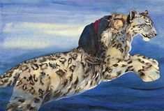 Leaping for the high wild mountains. Watercolour from The Snow Leopard by Jackie Morris. Original sold to a private collector. Prints available, limited edition, hand embellished, signed and numbered. Dad Drawing, Art Magique, Children's Book Illustration, Book Illustrations, Snow Leopard, Pictures To Draw, Art Pictures, Cat Art, Female Art
