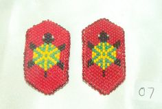 Barrette Girls Set of 2 Authentic Native American Beadwork Turtle Red New #07