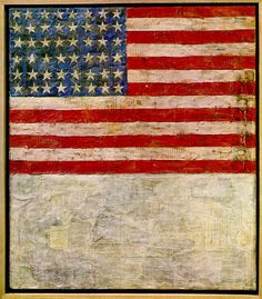 Jasper Johns:   Flag above White with Collage   (1955)