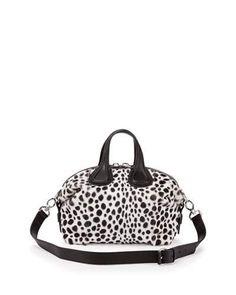 V2ZCA Givenchy Nightingale Small Dalmatian-Print Satchel Bag, Black