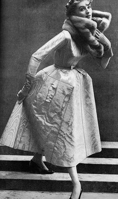 Suzy Parker wearing a dress by Dior, 1950.