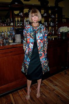 Editorinchief of American Vogue Magazine Anna Wintour attends Vogue's London Emerging Designers cocktail party at Ciano on October 26 2010 in New...