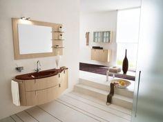 Wooden Bathroom Renovation With Mirror And Wall Light, basement bathroom designs, basement bathroom plumbing ~ Home Design Trendy Bathroom, Modern Bathroom, Bathroom Sink Design, Modern Bathroom Decor, Contemporary Bathroom Designs, Italian Bathroom Design, Bathroom Design, Bathroom Decor, Sink Design