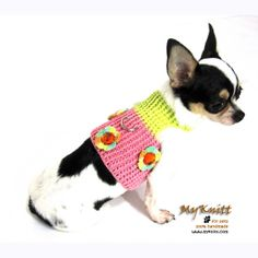 Soft cotton dog harness with orange rhinestones bling-bling accessories by Myknitt. Custom made are welcome.