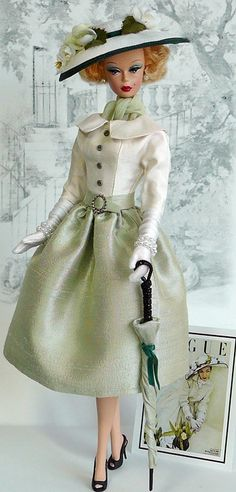"""""""In Vogue."""" This chic Afternoon Ensemble takes design inspiration from the vintage Fashion Magazine """"Vogue"""". It is cut from silk dupioni Barbie I, Barbie World, Barbie Dress, Barbie And Ken, Barbie Outfits, Vintage Barbie Clothes, Doll Clothes, Beautiful Dolls, Beautiful Outfits"""