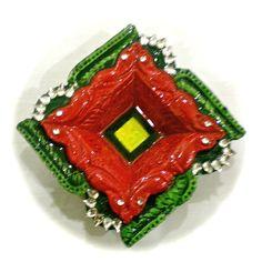 Red and Green Square Diya