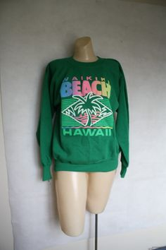 Vintage 1980's Hawaii tourist neon n emerald by WindingRoadVintage, $28.00